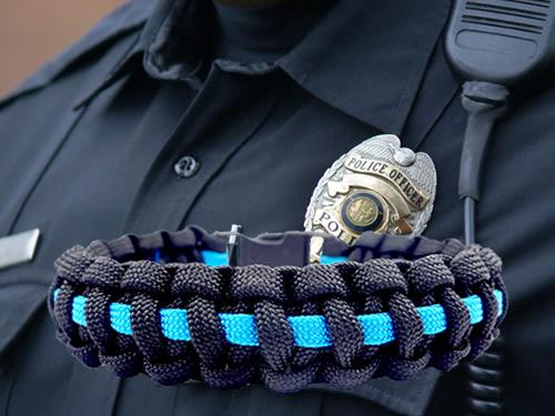 Blue Thin Line Survival Bracelet Law Enforcement